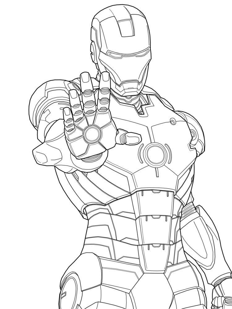 Раскраска Железный человек. Тони старк. Марвел комиксы.      Костюм железного человека. Тони Старк. Супергерой спешат на помощь. Мстители. Гений. Империя Тони Старка разрабатывает роботов.