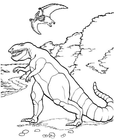 Раскраски с трабозаврами Скачать раскраску с динозавром трабозавром