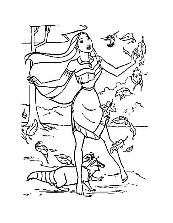 раскраски на тему Покахонтес             раскраски на тему Покахонтес для мальчиков и девочек. Интересные раскраски с персонажами диснеевского мультфильма покахонтес для детей