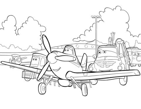 раскраска с главными героями мультфильма дисней самолеты