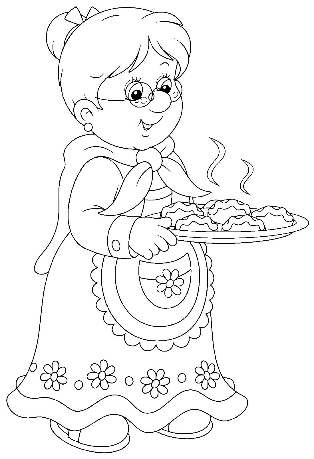 раскраски - Бабушка                               Интересные раскраски Бабушки. Раскраски для детей. Бабушка. Раскраски человек, раскраски бабушка.  раскраски с бабушкой и внуками.