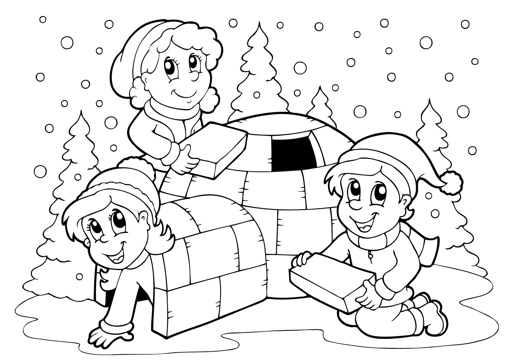 раскраски на тему зима для детей