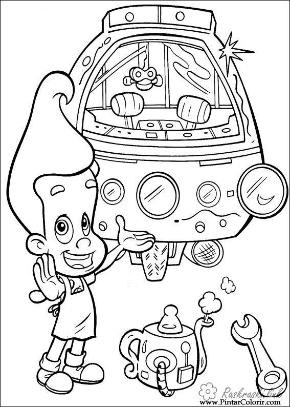раскраски с Джимми Нейтроном             раскраски на тему Джимии Нейтрон для мальчиков и девочек. Интересные раскраски с персонажами мультфильма Джимми Нейтрон для детей