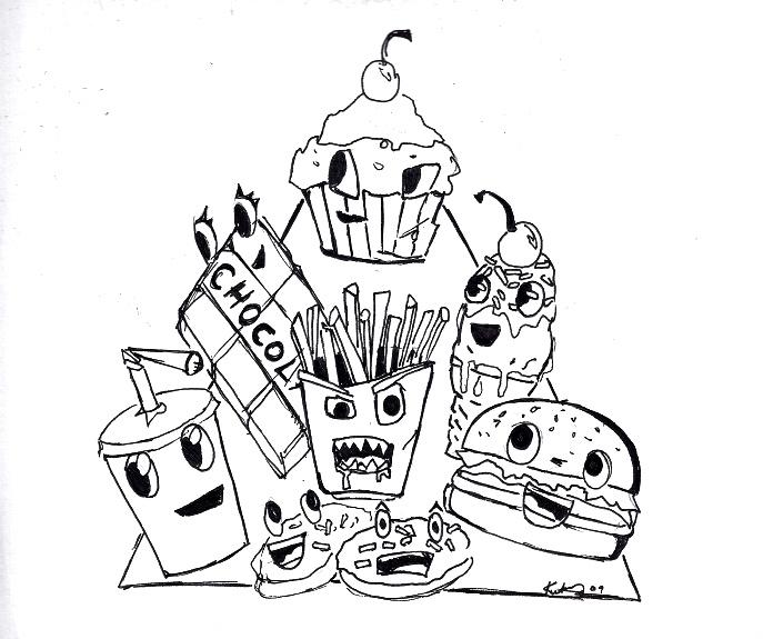 Раскраски для детей на тему еда. Раскраски на тему вредная пища.  Раскраски на тему еда. Данная подкатегория включает в себя раскраски на тему фаст фуд, вредная пища. Рскраски с бургерами, сэндвичами, пиццей, хот догами.