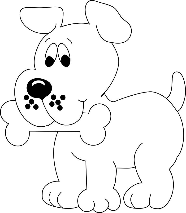 картинка раскраска для детей собака