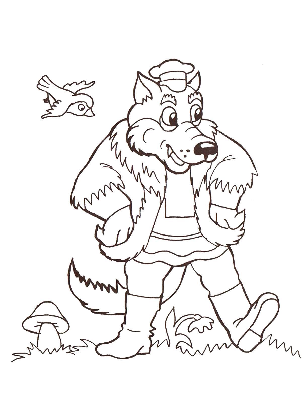 картинка волк раскраска для детей