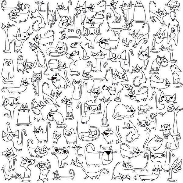 раскраски антистресс для взрослых с изображениями кошек