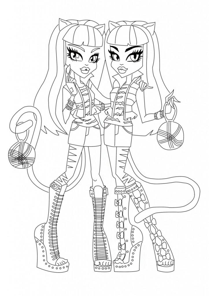 раскраски с куклами монстер хай монстры старшей школы