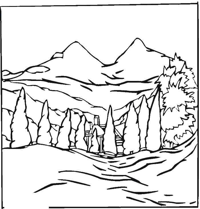 Раскраски горы Раскраски горы, горные пейзажи, раскраски гор для детей