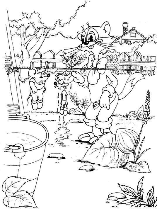 Раскраски Кот леопольд Раскраски по советскому мультфильму Кот леопольд