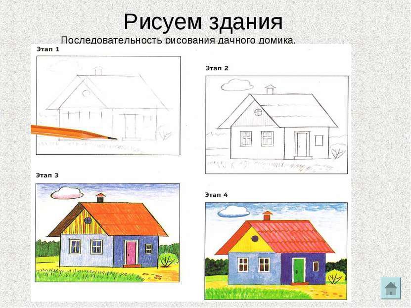 Рисуем дома Рисуем дома. Поэтапные уроки рисования домов для малышей, школьников и взрослых