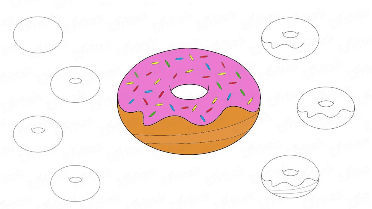 Рисуем еду Как нарисовать пончики, как рисовать сладости, как рисовать еду
