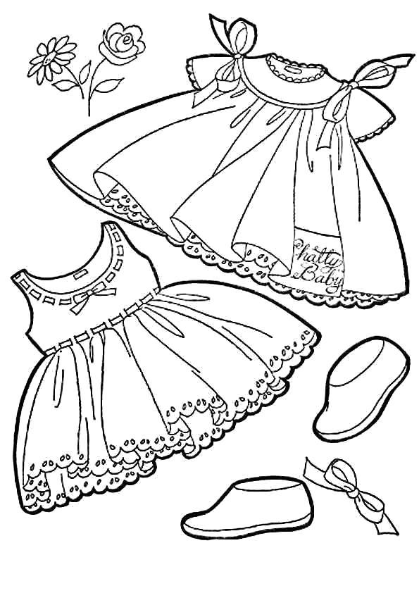 Раскраски Одежда Раскраски Одежда, раскраски с одеждой для самых маленьких, платья, рубашки, шубы, куртки, брюки, футболки и т. д