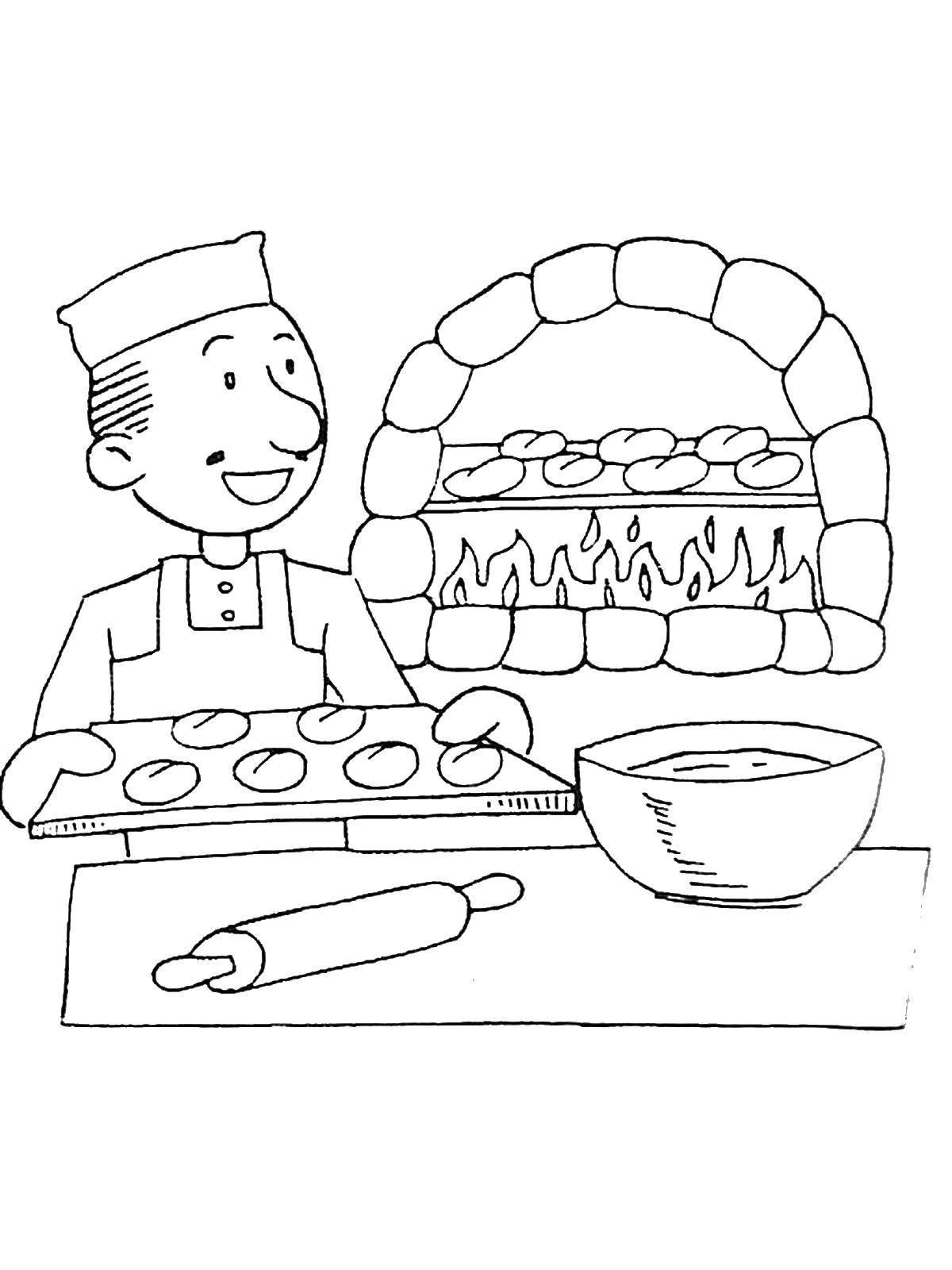 Раскраски Повар Раскраски Повар, раскраски пекарь, раскраски про тех кто готовит еду для детей