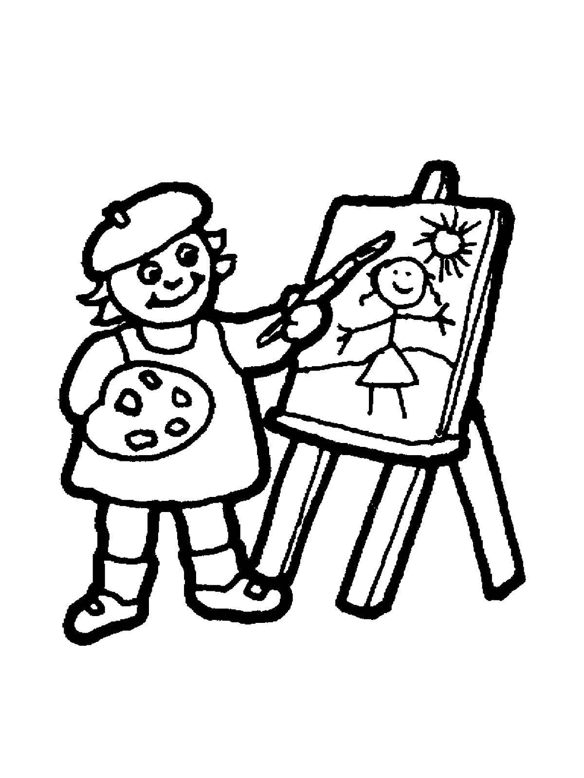 Раскраски Художник Раскраски Художник, раскраски человек рисует, раскраски про профессию художника для ребенка