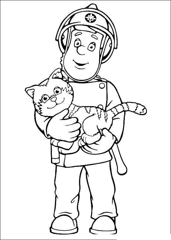 Раскраски пожарный Раскраски пожарный, раскраски про спасателей для детей