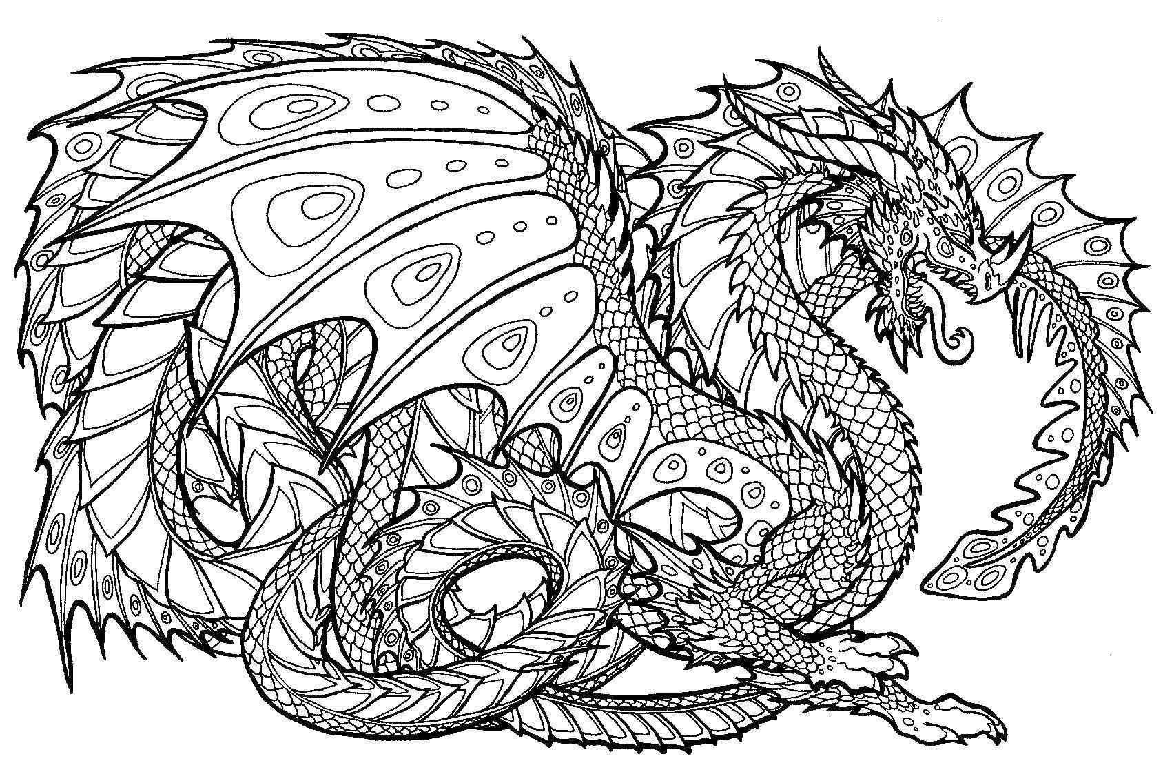 Раскраски Драконы Раскраски Драконов для подростков, красивы, простые и сложные раскраски